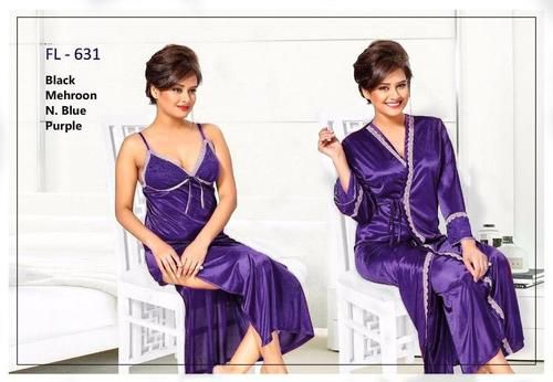2 Pcs Purple FL-631 - Flourish Exclusive Bridal Nighty Set Collection 2b5a88889