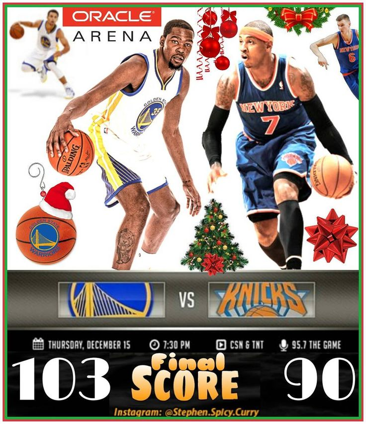 Final: Tis the season for another Dub win at Oracle! Warriors get the job done 103-90 over the Knicks! @klaythompson @stephencurry30 @money23green @andre @sdot1414 @warriors @nyknicks @carmeloanthony @kporzee @oraclearena @nba @nbaontnt @csnauthentic @957thegame #klaythompson #stephencurry #kevindurant #draymondgreen #shaunlivingston #andreiguodala #davidwest #knicks #carmeloanthony #kristapsporzingis #warriors #oraclearena #nba #nbaontnt #csnbayarea #957thegame
