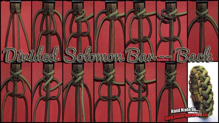 Und hier gleich noch das Tutorial für die Rückseite welch sich durchaus auch sehen lassen kann. Das Armband nennt sich Divided Solomon Bar, dieser Teil hier zeigt die BackSeite. Material für ein Armband passend zu einem 18.5 cm Handgelenk ca. 1.50 m Paracordcoyote brown ca. 1.50 m Paracordwalnut ca. 1.00 m Paracordmoss ca. 1.00 m …