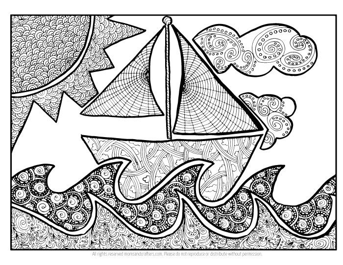 Doodle Boat Download Coloring Pages For AdultsColouring