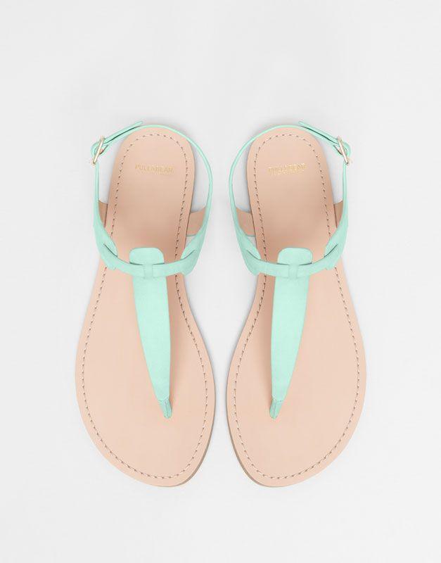 Pull&Bear - dames - beachwear - gekleurde sandaal - watergroen - 11940011-I2015