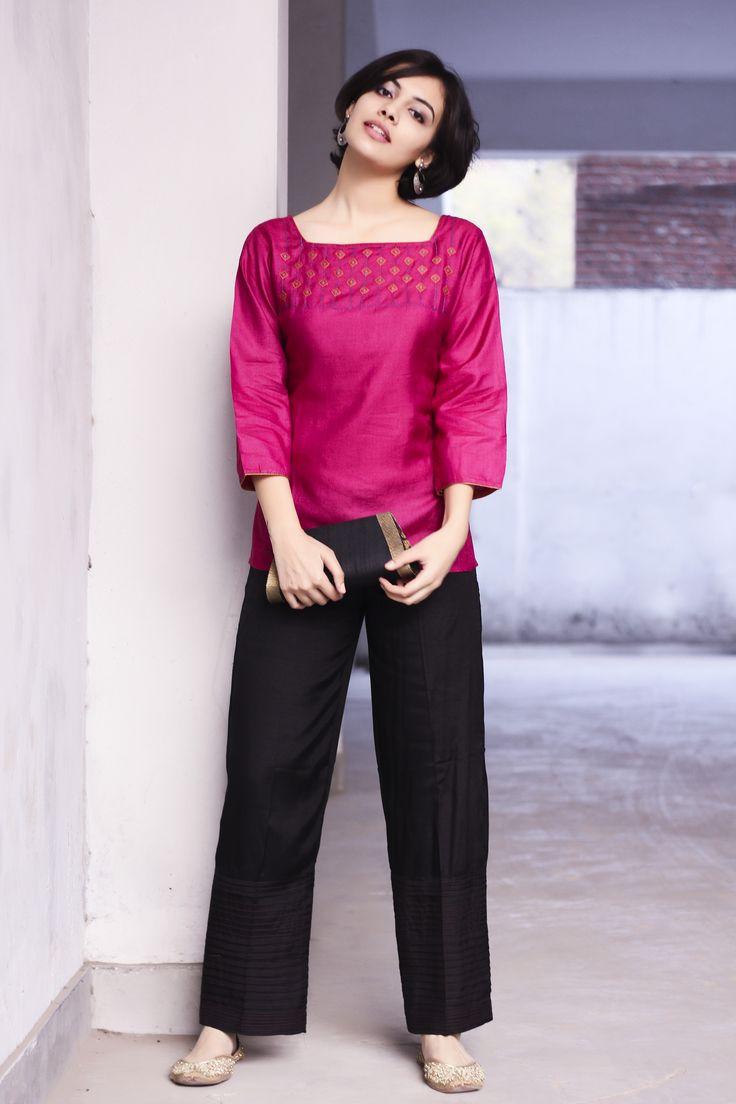 pink silk short kurta and black cotton pant