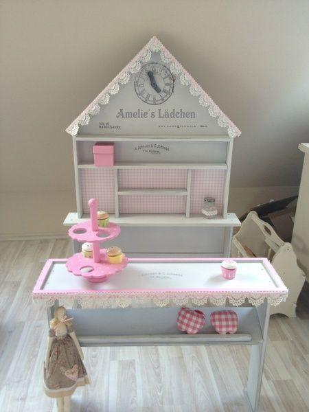 Shabby chic Kaufmannsladen +Name weissgrau+ rosa  von Hasterklabaster auf DaWanda.com