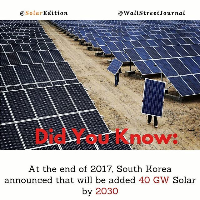 Did You Know South Koreas Fact At The End Of 2017 South Korea Announced That Will Be Added 40 Gw Solar By 2030 Solar Solar Energy Green Energy