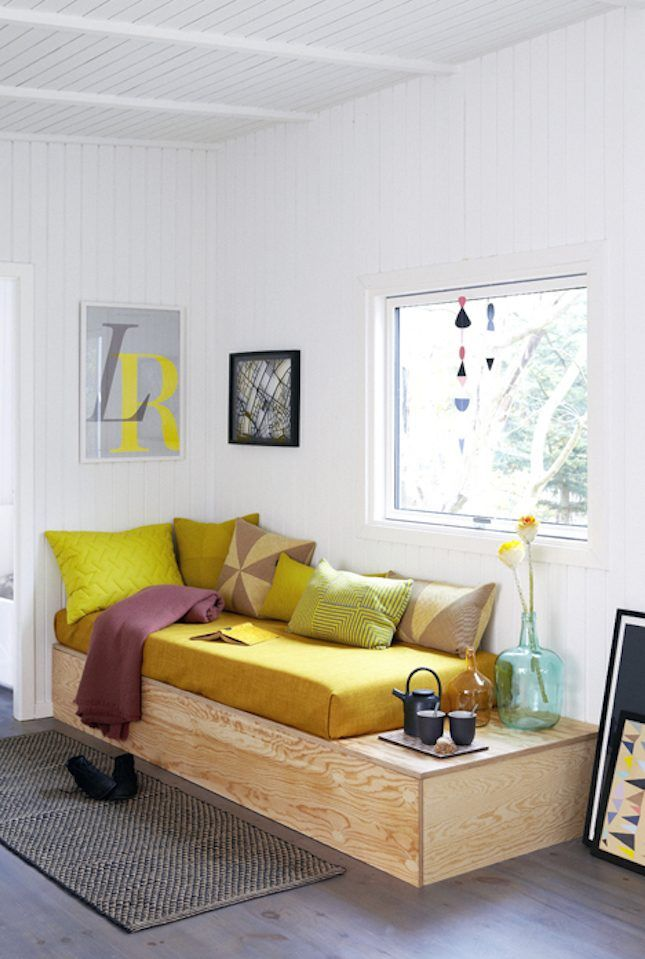 20 Rooms That Prove You Need a Daybed in Your Life via Brit + Co [easy DIY daybed with storage]
