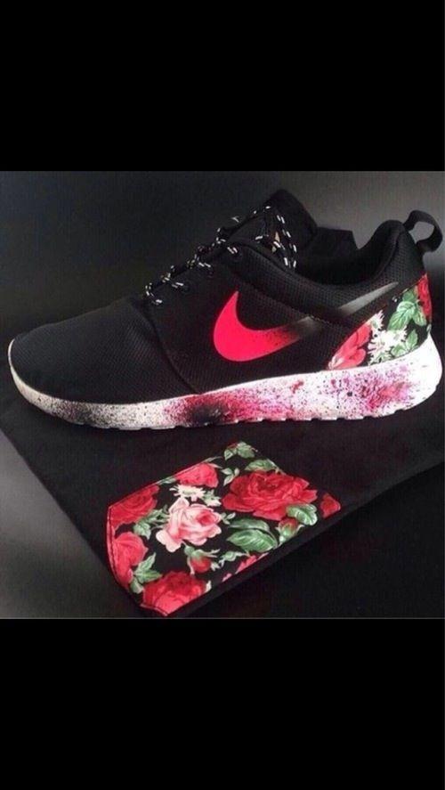 Floral Nike Roshe Run Shoes.