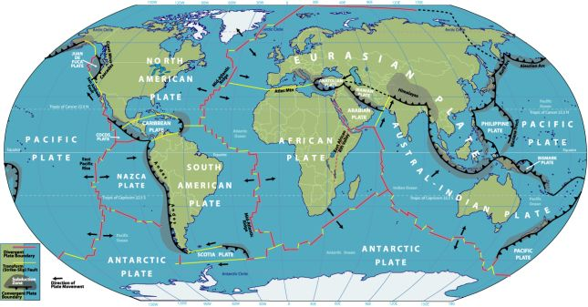 tectonic plate map of the world World Map Of Tectonic Plate Boundaries Plate Boundaries