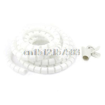 15mm x 2 Meter Spiral Wrapping Band Cable Organizer Wrap w Guide Tool Wire Clamp