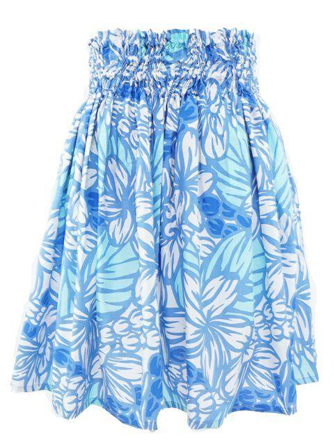 Plumeria&Mokihana Lei Peri/Cream Poly Cotton Single Pau Skirt