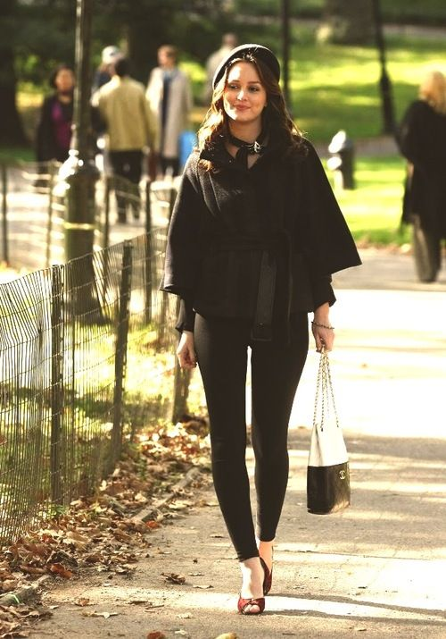 This outfit screams Blair Waldorf. I love the poncho adds a different almost edgier look to the preppy style she usually is styled in.