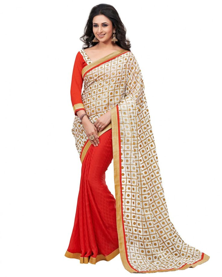 This is a bollywood saree made from dual fabric, the pallu is made from kara silk with gold print work while the bottom part is made from bamburg fabric and have