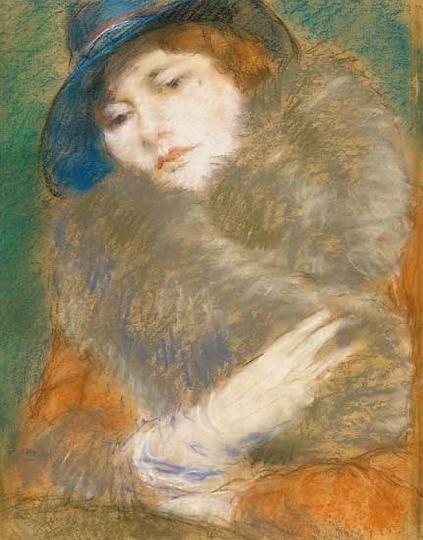 Rippl-Rónai József - Kalapos nő szőrmegalléros kabátban