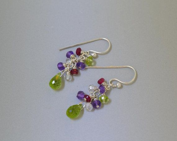 Multi Colored Gemstone Dangle Earrings Cluster by naturessplendour, $47.00