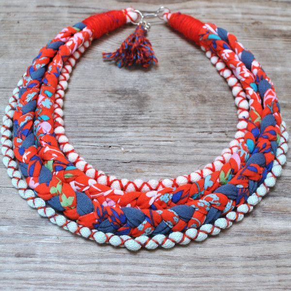 Collares cortos - Collar trenzas boho Flor Primavera - hecho a mano por PRACOWNIA-DominikaBrzozowska en DaWanda