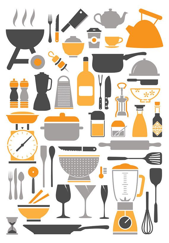 Kitchen Icons Canvas by Pippa and co on Etsy, $65.00