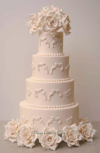 White-on-white.   Sweet Contessa Cakes - Wedding Gallery