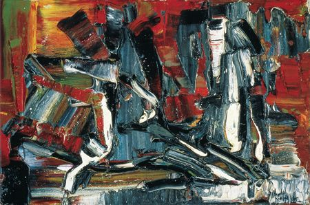 Jean Paul Riopelle, Abstraction, 1958, huile sur toile, 22 x 33 cm