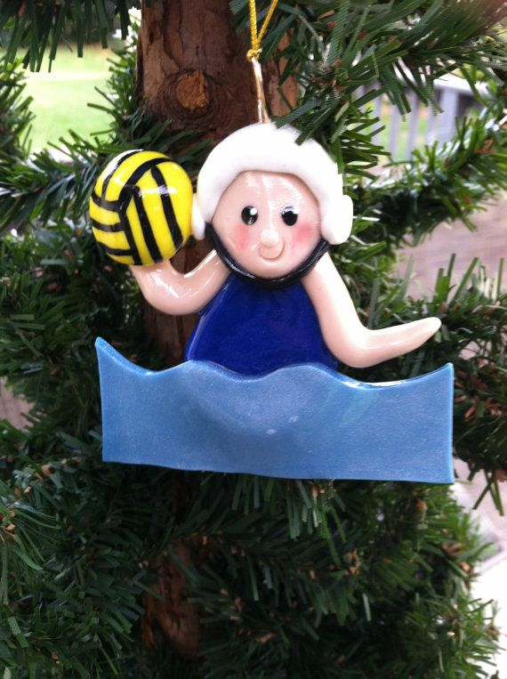 Handcrafted Polymer Clay Girl Water Polo Ornament by jeanninelynch