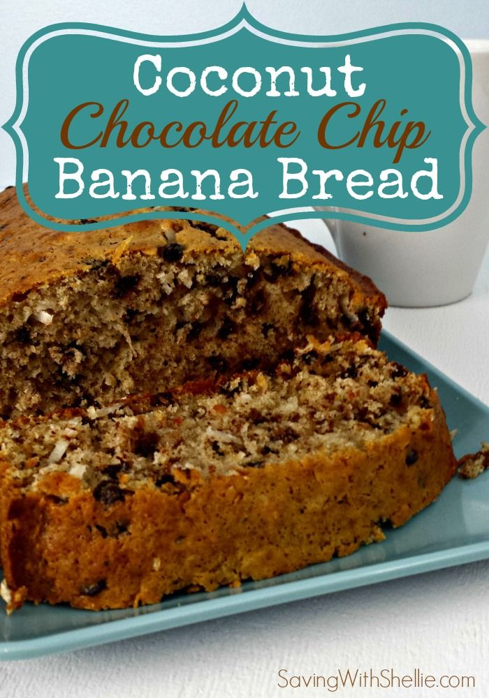 A yummy twist on ordinary banana bread: Add chocolate chips and coconut. #breakfast #recipeoftheday
