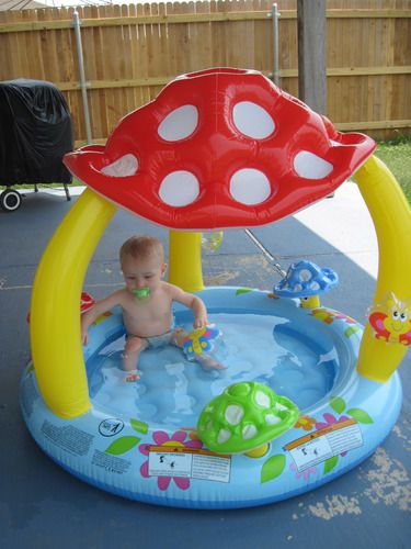 "inflatable kiddie pool | Inflatable Mushroom Baby/Kiddie Pool 40""X 35 W/Shade Sun Play Outside ..."