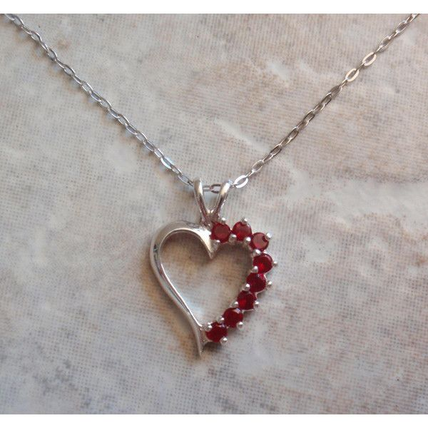 Ruby Heart Necklace Sterling Silver 17 Inch Cable Chain Vintage V0721 ($34) ❤ liked on Polyvore featuring jewelry, necklaces, ruby pendant necklace, ruby pendant, heart shaped necklace, sterling silver heart necklace and heart pendant