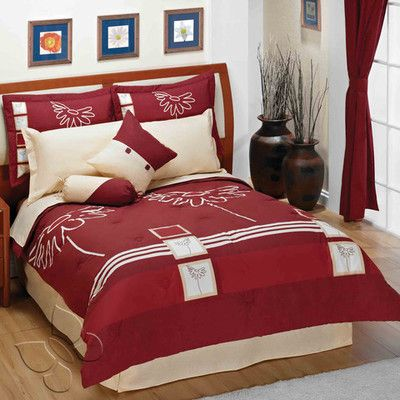 Rosso Comforter Set King   Includes:  •1 Double-sided Comforter •1 Bedskirt •3 Shams •3 Decorative Cushions $174.95
