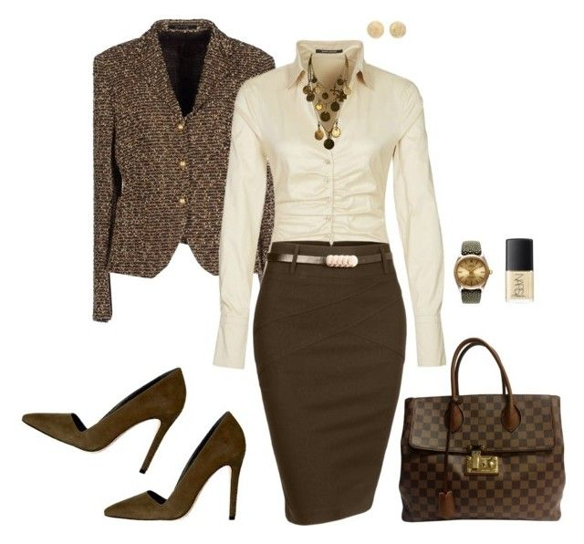 Brown pencil skirt by tgtatiana on Polyvore featuring polyvore, moda, style, René Lezard, Tagliatore, Alice + Olivia, Louis Vuitton, Rolex, Yves Saint Laurent, Carolina Bucci, NARS Cosmetics, fashion and clothing