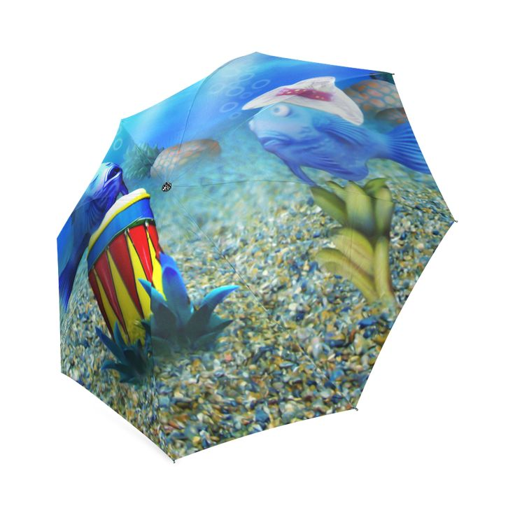 The Singing Fish Foldable Umbrella - Cute illustration of an underwater world of tourists. A singing fish with a conga drum, with tourist fish watching. (Tags: fish, blue, gravityx9, illustration, cartoon fish, fishes, tourist, conga drum, conga, music, singer, underwater, ocean, sea, diving, underwater world )