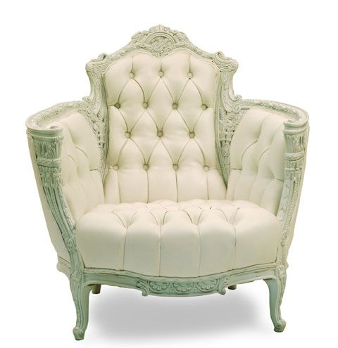 tufted chairs | ... :: WHITE :: SEATING :: White Leather Button- Tufted Victorian Chair