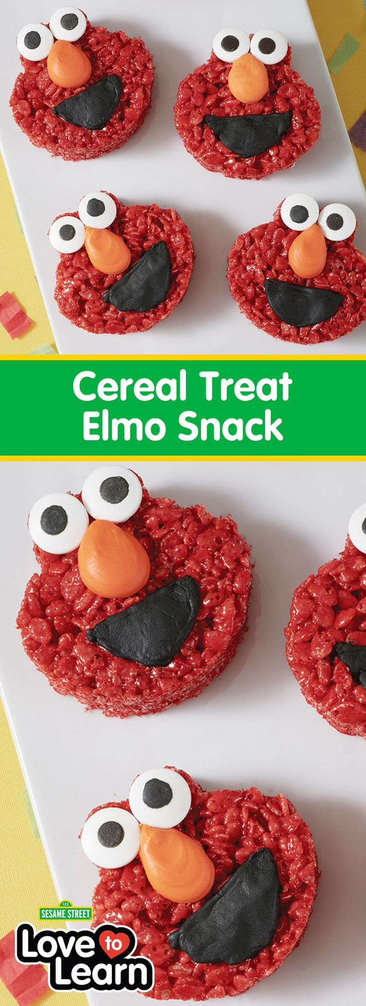 Cereal Treat Elmo Snack - Kids of all ages love cereal treats, and these fun Cereal Treat Elmo Snacks are great for Sesame Street fans of all ages. Simple and easy to make, these cereal snacks make fun alternatives to sweeter treats and are very easy to create using the Sesame Street Cookie Cutter Set. Use your favorite cereal treat recipe and watch kids smile with delight when they see these cute Cereal Treat Elmo Snacks!