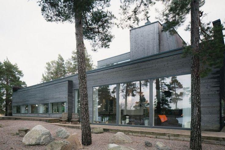 façade terrasse - maison bois contemporaine par Gabriel Minguez - Ingarö, Suède