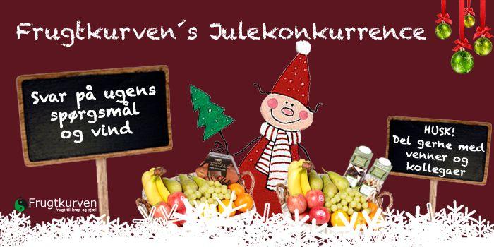 Frugtkurvens Julekonkurrence Deltag i Frugtkurven´s store Julekonkurrence 2014 og vind flotte præmier - hver uge.  Deltag her> http://www.frugtkurven.dk/nyheder/?id=25 #jul #jul2014 #julekonkurrence #frugtkurven #gavekurve #julehygge