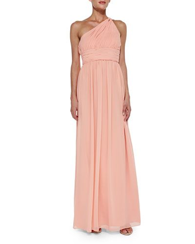 One-Shoulder Chiffon Gown, Peach