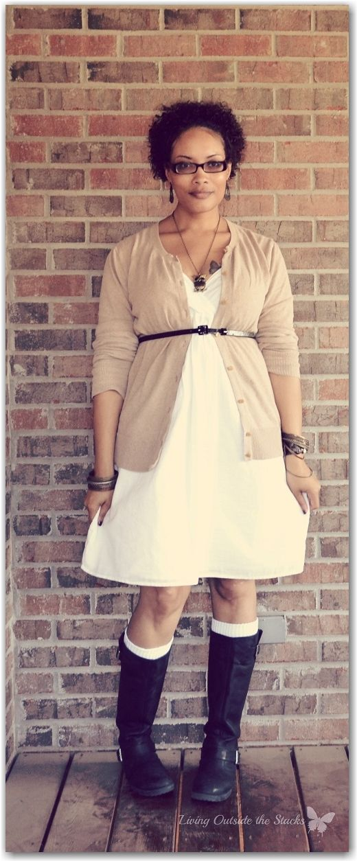 Beige Cardi, White Dress, and Black Boots {Living Outside the Stacks}