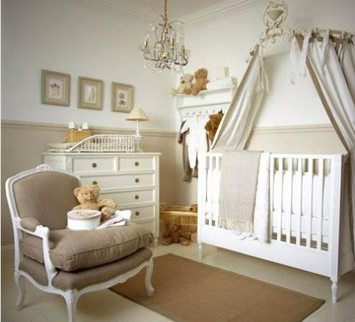 Nursery: This is Ideal, Perfect colour scheme & Layout, Mostly I Love the arm chair & curtain over the cot best, least lets not forget the cute way of storage with those adorable wooden knob hangers!