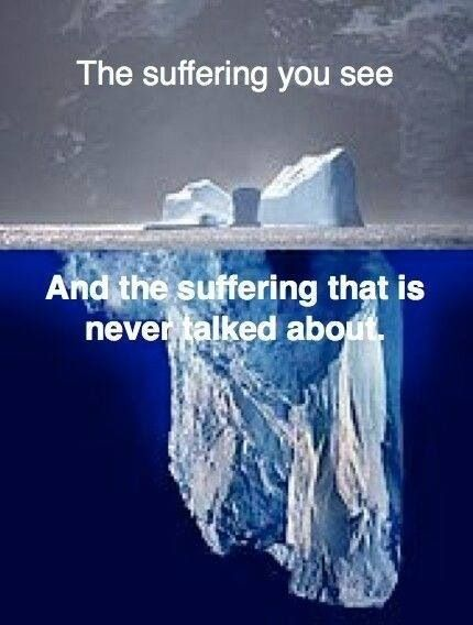 Most suffering is invisible. Iceberg image.