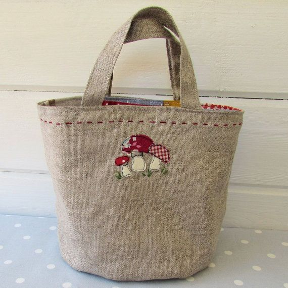 Toadstool Patchwork Bag pattern instant download by BustleandSew