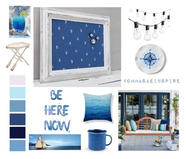 """Summer by the sea in navy color"" by info-521 on Polyvore featuring interior, interiors, interior design, thuis, home decor, interior decorating, Crate and Barrel, Lands' End, Uma en living room"