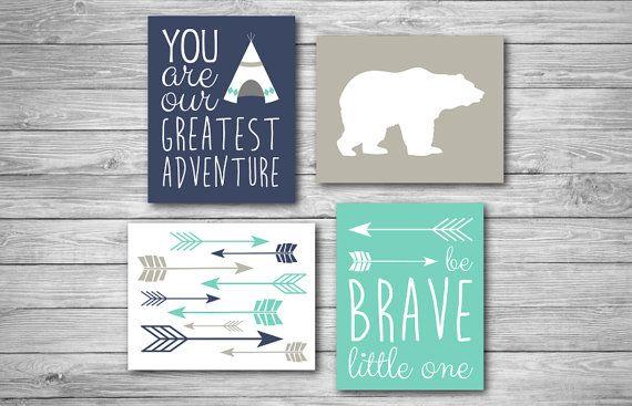 Baby Nursery Print Teepee Bear Arrow Adventure Brave