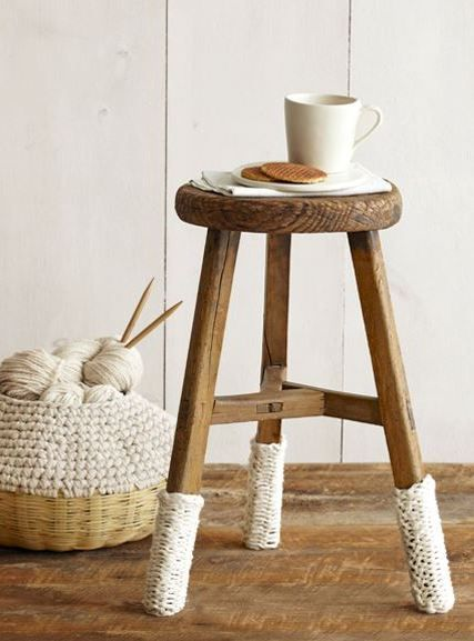 I love this idea on the stool legs. My Mama made me a knitting basket like this one 35 yrs ago ! White Knitted Home Decorations - White Home Decor - Country ... & 91 best Furniture - Stool images on Pinterest | Wood design ... islam-shia.org