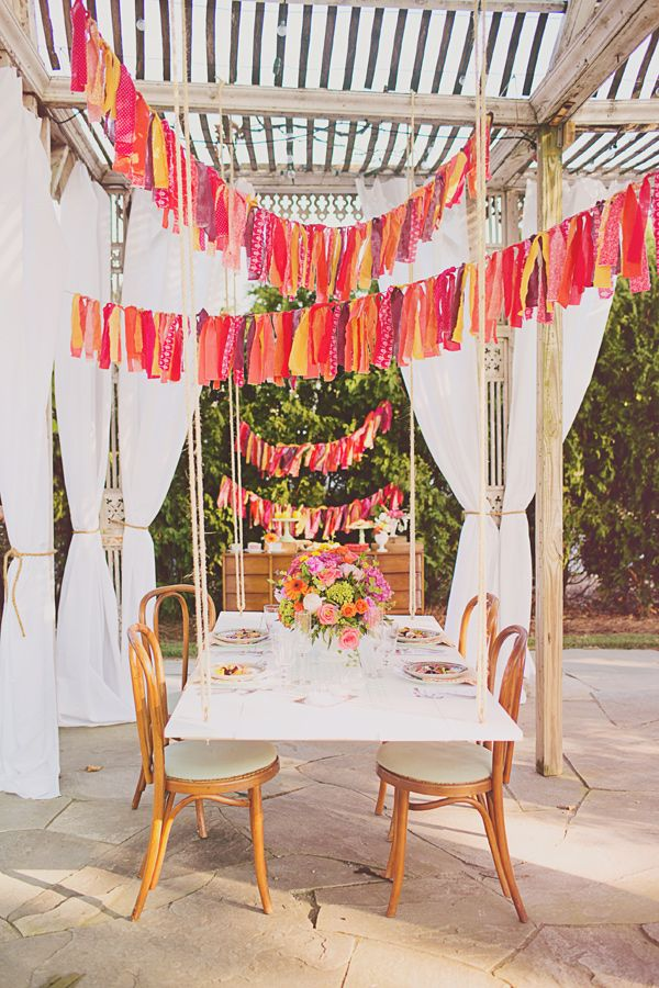 Colorful reception string banner  I Jacquelyne Mae Photography