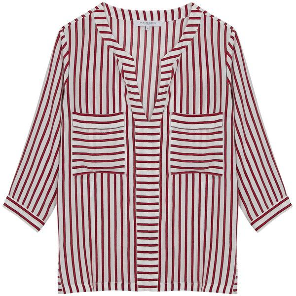 Gerard Darel Corfou Blouse, Red (2147510 BYR) ❤ liked on Polyvore featuring tops, blouses, red top, striped blouse, v neck blouse, stripe blouse and print blouse