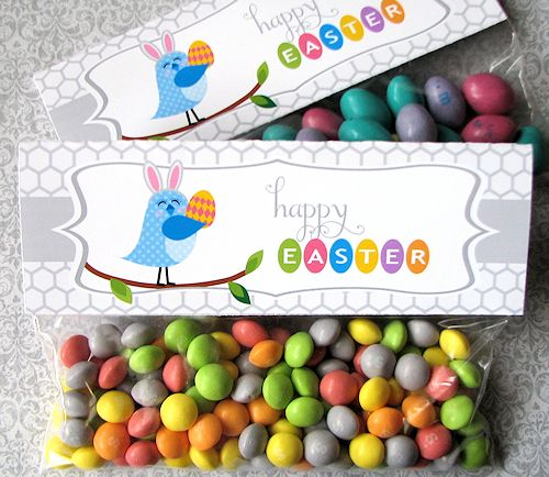 Free Printable - Happy Spring Treat Bag Topper + party circles, 8x10 spring print, chocolate bar wrapper and labels