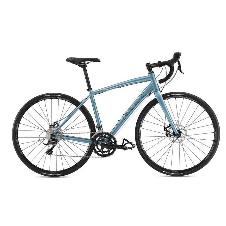 2017 Fuji Finest 1.5 Disc ladies road bike. Available in 1 color and 5 sizes.  Frame: A2-SL alloy tapered seatstays & chainstays w/ rack mount, forged-road