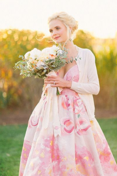 Preppy bride in a hand painted dress: http://www.stylemepretty.com/connecticut-weddings/stonington/2015/02/06/preppy-wedding-inspiration/ | Photography: Kat Harris - http://www.katharrisweddings.com/