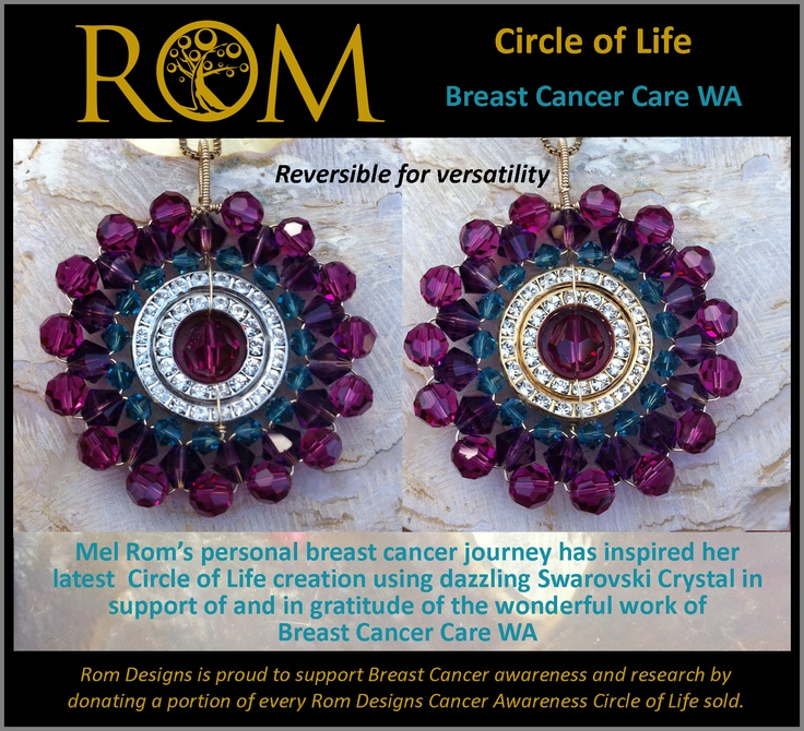 This is my Circle of Life Swarovski crystal creation designed especially for Breast Cancer Care WA to thank them for all their efforts in helping those of us going through breast cancer.  Thank You!   PS. The bail is made wide enough to change the neck chain to suit and the pendant can be worn either side with silver on one side and gold on the other. AUD $200