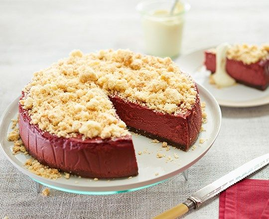 Red Velvet Cheesecake with Coconut Crumble