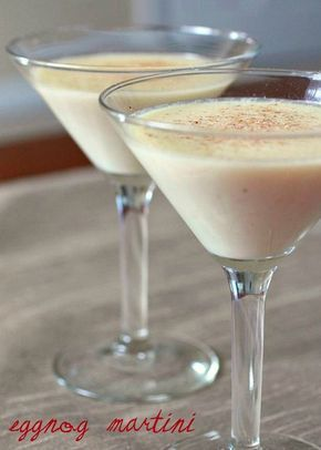 EggNog Martini INGREDIENTS: 2 1/2oz. eggnog 1oz. vanilla vodka 3/4oz. Amaretto Source: Single Minded Women DIRECTIONS: Combine ingredients in shaker and shake over ice. Strain into chilled martini glass. Dust with freshly grated nutmeg.