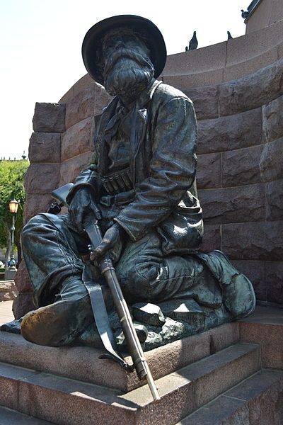 Boer at foot of Paul Kruger Statue Church Square, Pretoria
