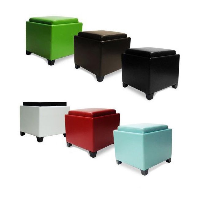 armen living storage ottoman with tray by armen living - Storage Cube Ottoman